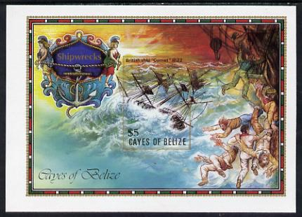 Cayes of Belize 1985 The Comet (Shipwrecks) $5 unmounted mint imperf m/sheet