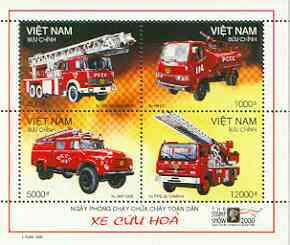 Vietnam 2000 Fire Engines perf sheetlet containing set of 4 values