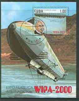 Cuba 2000 WIPA 2000 Stamp Exhibition (Zeppelin Airship) perf m/sheet fine cto used