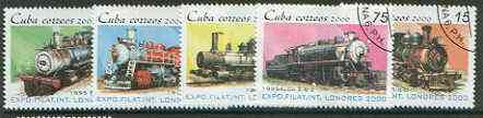 Cuba 2000 London 2000 Stamp Exhibition (Steam Locos) perf set of 5 fine cto used*