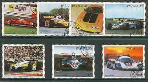 Paraguay 1982 Racing & Sports Cars set of 7 very fine cto used