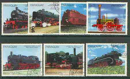 Paraguay 1985 150th Anniversary of German Railways (1st issue) set of 7 very fine cto used