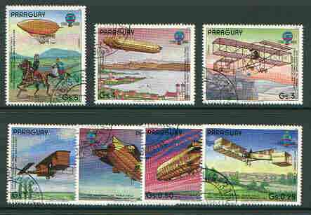 Paraguay 1984 Bicentenary of manned Flight set of 7 very fine cto used