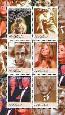 Angola 2000 Legends of the 20th Century perf sheetlet containing 6 values (Houdini, Spielberg, Woody Allen, Strisand, Kirk Douglas & Einstein) unmounted mint