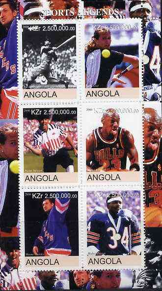 Angola 2000 Sports Legends perf sheetlet containing 6 values (Steffi Graf, M Jordan, Joe DiMaggio, W Paxton, W Gretsky & P Stewart) unmounted mint