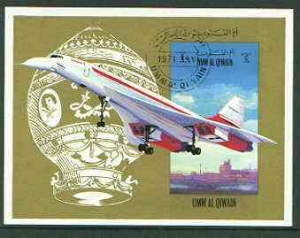 Umm Al Qiwain 1972 International Airlines imperf m/sheet (Concorde & Balloon) fine cto used, Mi BL 47B