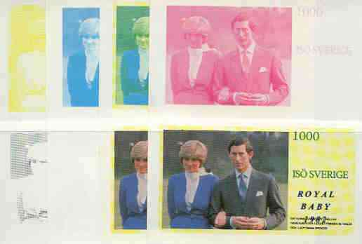 Iso - Sweden 1982 Royal Baby opt on Royal Wedding 1000 deluxe sheet (Charles & Di), the set of 8 imperf progressive proofs comprising the individual colours plus various colour combinations unmounted mint