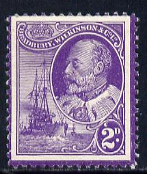 Cinderella - Great Britain Bradbury Wilkinson perforated dummy 2d stamp in purple on gummed paper depicting King Edward VII & Naval Destroyer, minor wrinkles but unmounted mint