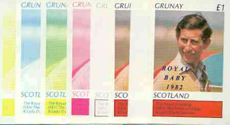 Grunay 1982 Royal Baby opt on Royal Wedding \A31 souvenir sheet (Charles) the set of 8  imperf progressive colour proofs comprising single colours and various colour combinations incl completed design unmounted mint, stamps on charles, stamps on royalty, stamps on william