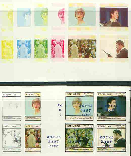 Eynhallow 1982 Royal Baby opt on Royal Wedding sheetlet containing set of 4 values, the set of 9 imperf progressive colour proofs comprising single colours and various colour combinations incl completed design (36 proofs) unmounted mint