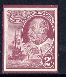 Cinderella - Great Britain Bradbury Wilkinson imperf dummy 2d stamp in maroon on ungummed paper depicting KEVII & Naval Destroyer