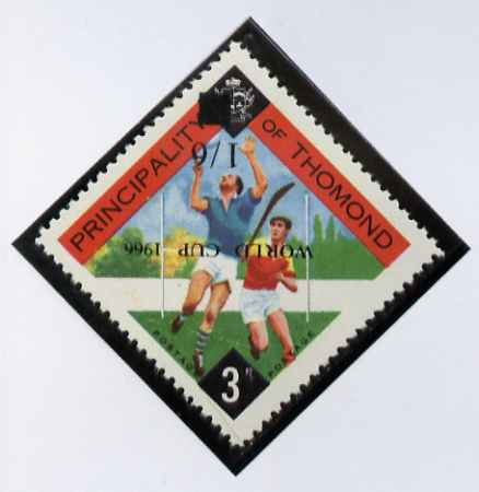 Thomond 1966 Hurling 3d (Diamond shaped) unmounted mint surcharged 1s6d World Cup 1966 opt inverted*