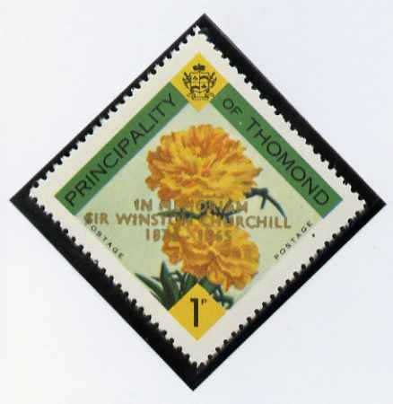 Thomond 1965 Carnation 1d (Diamond-shaped) with 'Sir Winston Churchill - In Memorium' overprint in gold unmounted mint*