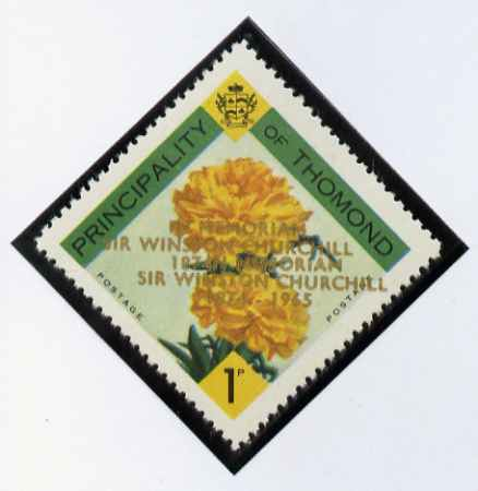 Thomond 1965 Carnation 1d (Diamond-shaped) with 'Sir Winston Churchill - In Memorium' overprint in gold with opt doubled* unmounted mint
