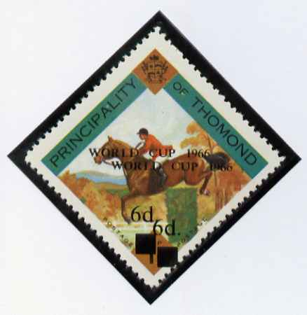 Thomond 1965 Show jumping 1.5d (Diamond-shaped) surcharged 6d World Cup 1966 opt doubled unmounted mint*
