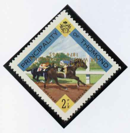 Thomond 1965 Horse Racing 2.5d (Diamond-shaped) with 'Sir Winston Churchill - In Memorium' overprint in gold with opt inverted* unmounted mint
