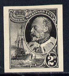 Cinderella - Great Britain Bradbury Wilkinson imperf dummy 2d stamp in black on ungummed paper depicting KEVII & Naval Destroyer, minor wrinkles