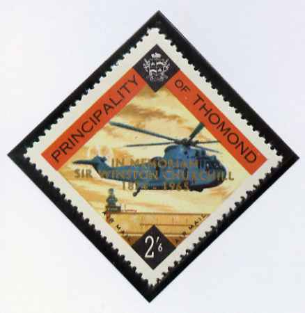 Thomond 1965 Helicopter 2s6d (Diamond shaped) with 'Sir Winston Churchill - In Memorium' overprint in gold unmounted mint*