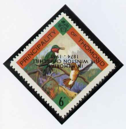 Thomond 1965 Humming Birds 6d (Diamond-shaped) with 'Sir Winston Churchill - In Memorium' overprint in black with opt inverted* unmounted mint
