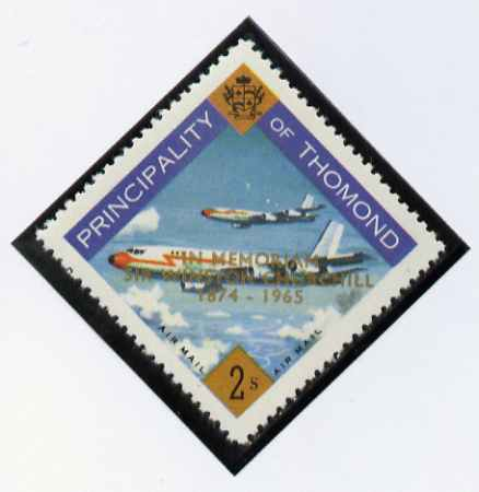 Thomond 1965 Jet Liner 2s (Diamond shaped) with 'Sir Winston Churchill - In Memorium' overprint in gold* unmounted mint