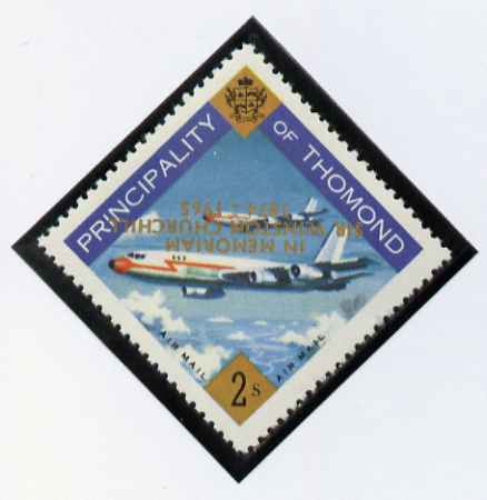 Thomond 1965 Jet Liner 2s (Diamond shaped) with 'Sir Winston Churchill - In Memorium' overprint in gold with opt inverted unmounted mint*