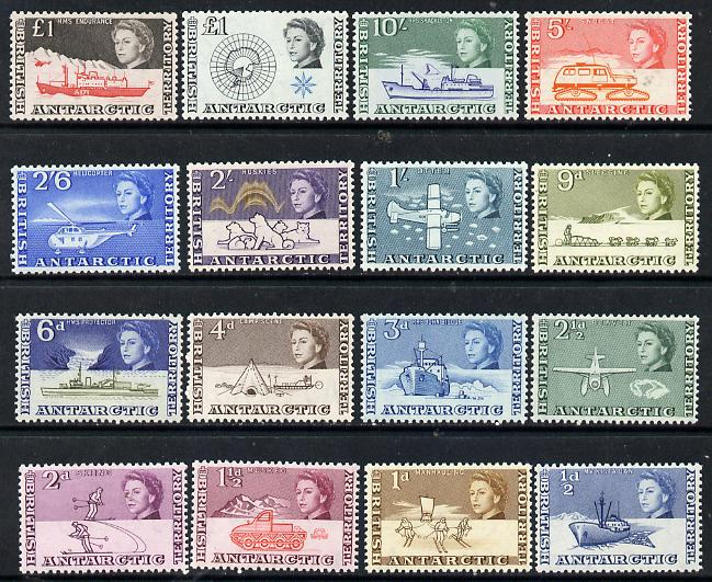 British Antarctic Territory 1963-69 First definitive set complete - 16 values including both \A31 values, unmounted mint SG 1-15a