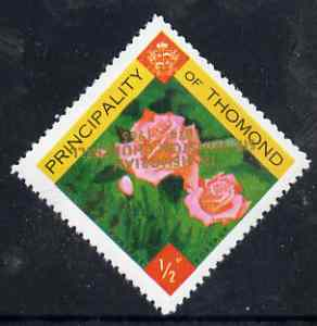 Thomond 1965 Roses 1/2p (Diamond shaped) with 'Sir Winston Churchill - In Memorium' overprint in gold with opt inverted unmounted mint*