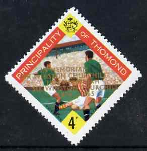 Thomond 1965 Football 4d (Diamond shaped) with 'Sir Winston Churchill - In Memorium' overprint in gold with opt doubled unmounted mint*