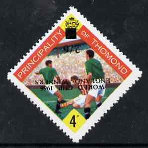 Thomond 1965 Football 4d (Diamond shaped) surcharged 2s6d World Cup 1966 - England Winners, opt inverted unmounted mint*