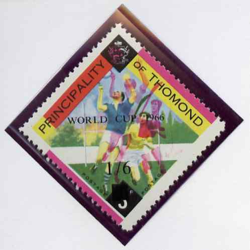 Thomond 1966 Hurling 3d (Diamond shaped) surcharged 1s6d World Cup 1966 with superb misplaced red by 4mm (extra players) unmounted mint*