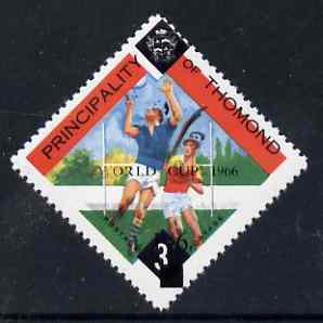 Thomond 1966 Hurling 3d (Diamond shaped) unmounted mint surcharged 1s6d World Cup 1966 with black misplaced by 1.5 mm