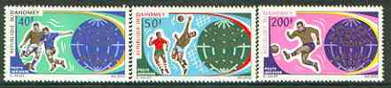 Dahomey 1970 Football World Cup set of 3 unmounted mint, SG 398-400*, stamps on football, stamps on sport