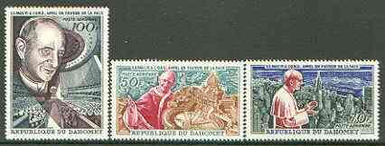 Dahomey 1966 Pope Pauls Visit to UN set of 3, unmounted mint, SG 254-56