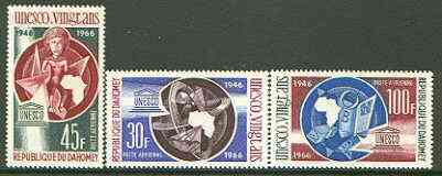 Dahomey 1966 UNESCO set of 3 unmounted mint, SG 264-66*
