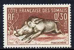 French Somali Coast 1958 Warthog 30c from def set unmounted mint, SG 432