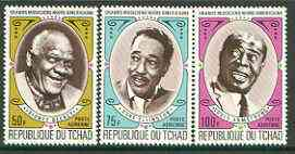 Chad 1971 American Black jazz Musicians (Bechet, Armstrong & Ellington) set of 3 unmounted mint, SG 341-43*