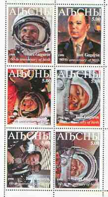 Abkhazia 1999 Yuri Gagarin perf sheetlet containing 6 values unmounted mint