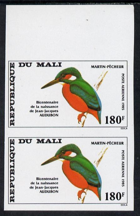 Mali 1985 John Audubon 180f Kingfisher unmounted mint IMPERF pair from limited printing (as SG 1073)