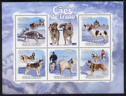 Guinea - Bissau 2009 Sled Dogs perf sheetlet containing 5 values unmounted mint