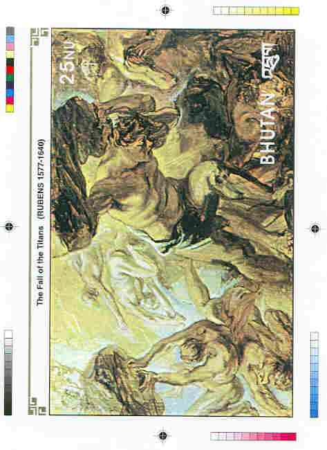 Bhutan 1991 Death Anniversary of Peter Paul Rubens Intermediate stage computer-generated artwork for 25nu m/sheet (The Fall of the Titans), magnificent item ex Government...
