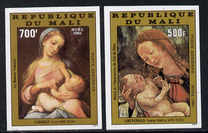 Mali 1981 Christmas imperf set of 2 from limited printing (as SG 893-4)