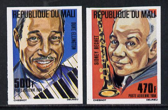 Mali 1984 Jazz Muscicians imperf set of 2 from limited printing (as SG 996-7)