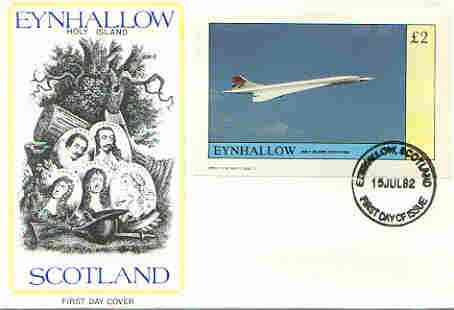 Eynhallow 1982 Concorde imperf deluxe sheet (\A32 value) on cover with first day cancel