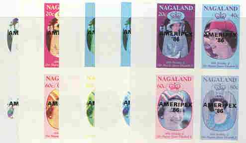 Nagaland 1986 Queen's 60th Birthday imperf sheetlet containing 4 values with AMERIPEX opt in black, set of 5 progressive proofs comprising single & various composite combinations (20 proofs) unmounted mint