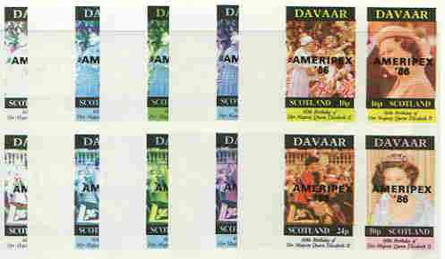Davaar Island 1986 Queen's 60th Birthday imperf sheetlet containing 4 values with AMERIPEX opt in black, set of 5 progressive proofs comprising single & various composite combinations (20 proofs) unmounted mint