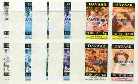 Davaar Island 1986 Queen's 60th Birthday imperf sheetlet containing 4 values with AMERIPEX opt in blue, set of 5 progressive proofs comprising single & various composite combinations (20 proofs) unmounted mint