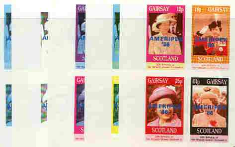 Gairsay 1986 Queen's 60th Birthday imperf sheetlet containing 4 values with AMERIPEX opt in blue, set of 5 progressive proofs comprising single & various composite combinations (20 proofs) unmounted mint