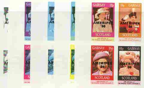 Gairsay 1986 Queen's 60th Birthday imperf sheetlet containing 4 values with AMERIPEX opt in black, set of 5 progressive proofs comprising single & various composite combinations (20 proofs) unmounted mint