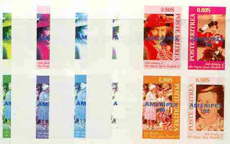 Eritrea 1986 Queen's 60th Birthday imperf sheetlet containing 4 values with AMERIPEX opt in blue, set of 5 progressive proofs comprising single & various composite combinations (20 proofs)