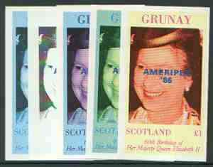 Grunay 1986 Queen's 60th Birthday imperf souvenir sheet (\A31 value) with AMERIPEX opt in blue, set of 5 progressive proofs comprising single & various composite combinations unmounted mint, stamps on royalty, stamps on 60th birthday, stamps on stamp exhibitions